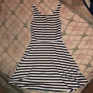 H&M Divided (size 4) navy blue striped white dress